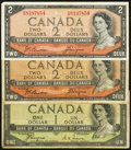 Canadian Currency: , Canada 1954 Devil's Face.. BC-29a $1;. BC-30b $2 (2).. ... (Total:3 notes)