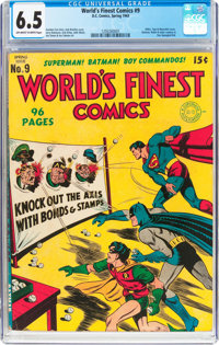 World's Finest Comics #9 (DC, 1943) CGC FN+ 6.5 Off-white to white pages