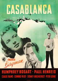 "Casablanca (Warner Brothers, 1946). First Post-War Release Danish Poster (24.5"" X 33.5""). Benny Stilling Artwo..."