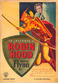 "The Adventures of Robin Hood (Warner Brothers, 1945). First Post-War Release Italian Foglio (27.25"" X 39.5"")..."