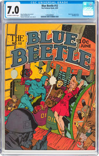 Blue Beetle #12 (Fox Features Syndicate, 1942) CGC FN/VF 7.0 Off-white to white pages