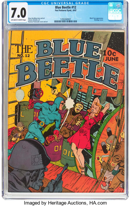 Blue Beetle #12 (Fox Features Syndicate, 1942) CGC FN/VF 7.0 Off-white to white pages....