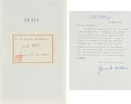 Autographs:Authors, James Michener Signed Book: Space, Presented to NASA Scientist Dr. Ernst Stuhlinger, with Michener Typed Letter Si...