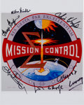 Autographs:Celebrities, NASA Mission Control: Insignia Color Photo Signed by SixControllers....