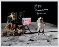 """Autographs:Celebrities, John Young Signed Apollo 16 Lunar Surface """"Leaping Flag Salute""""Color Photo. ..."""
