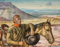 Peter Hurd (American, 1904-1984) Cowboy Looking West, detail from a proposed mural Tempera and water