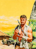Paintings, Stanley Borack (American, 1927-1993). War Fighter on a Tropical Island, probable paperback cover. Oil on board. 19.25 x ...