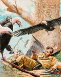 Pulp, Pulp-like, Digests, and Paperback Art, Stanley Borack (American, 1927-1993). Fighting Off Vultures,probable book cover. Oil on board. 14.75 x 11.75 in.. Signe...