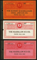 Miscellaneous:Other, Unknown Location- Massillon Ice Co. 500; 1000; 5000 Lbs CouponBooklets Remainders No Date.. ... (Total: 3 items)
