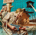 Paintings, Stanley Borack (American, 1927-1993). The Sailor Who Broke Out of Camp Horror, Stag magazine cover, April 1958. Gouache ... (Total: 2 Items)