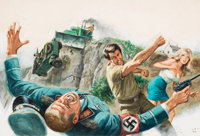 Bruce Minney (American, b. 1928) In the Battle, Male magazine interior illustration, April Oil on bo