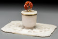 Asian:Chinese, A Chinese Carved White Jade Cup and Stand with Carnelian Finial Mounted as an Inkwell, Attributed to Edward Farmer, 17th cen...