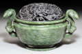 Asian:Chinese, A Chinese Carved Spinach Jade Censer, Qing Dynasty, 18th century.3-7/8 h x 7-7/8 w x 5-5/8 d inches (9.8 x 20.0 x 14.3 cm) ...