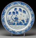 Asian:China Trade, A Large Chinese Export Blue and White Porcelain Charger, Qianlong Period, circa 1736-1795. 21-1/2 inches diameter (54.6 cm)...