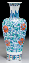 Asian:Chinese, A Chinese Doucai Porcelain Vase, 19th century or earlier. Marks:Yongzheng six-character mark in blue underglaze within doub...