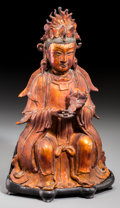 Asian:Chinese, A Chinese Gilt and Lacquered Bronze Taoist Seated Figure, MingDynasty. 13-1/2 inches high (34.3 cm) (figure on stand). ...