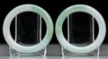 Asian:Chinese, A Pair of Chinese Carved Jadeite Bangles. 3-1/4 inches diameter(8.3 cm). ... (Total: 2 Items)