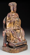 Asian:Chinese, A Chinese Gilt and Lacquered Wood Figure of a Court Official, MingDynasty. 15-1/8 inches high (38.4 cm). ...