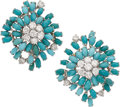 Estate Jewelry:Earrings, Turquoise, Diamond, White Gold Earrings. ... (Total: 2 Items)
