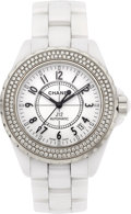 Estate Jewelry:Watches, Chanel Lady's Ceramic Double Diamond Bezel J12 Watch. ...