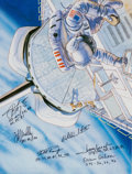 Autographs:Celebrities, Space Shuttle Astronauts (Six) Signed Book: The Golden Book ofSpace Exploration....