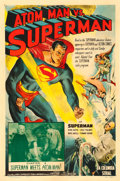"Movie Posters:Serial, Atom Man vs. Superman (Columbia, 1950). One Sheet (27"" X 41"")Chapter 4 - ""Superman Meets Atom Man."". ..."