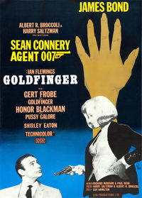 "Goldfinger (United Artists, 1964). Swedish One Sheet (27.5"" X 39.5""). James Bond"