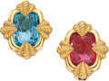 Estate Jewelry:Earrings, Pink Tourmaline Intaglio, Blue Topaz Intaglio, Gold Earrings. ...(Total: 2 Items)