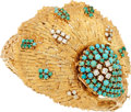 Estate Jewelry:Watches, Swiss Lady's Diamond, Turquoise, Gold Covered Dial Watch. ...