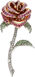Estate Jewelry:Brooches - Pins, Colored Diamond, Diamond, Multi-Stone, Platinum, Pink Gold Brooch. ...