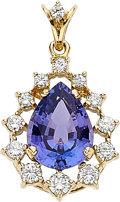 Estate Jewelry:Pendants and Lockets, Tanzanite, Diamond, Gold Pendant. ...