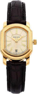 Tiffany & Co. Lady's Gold, Leather Strap 'Mark Coupe' Watch