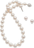 Estate Jewelry:Suites, South Sea Cultured Pearl, Diamond, White Gold Jewelry Suite. ...(Total: 2 Items)