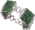 Estate Jewelry:Bracelets, Carved Jade, Diamond, Platinum, Gold Bracelet. ...