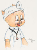 Animation Art:Production Drawing, Virgil Ross - Porky Pig as a Doctor Illustration (Warner Brothers,c. 1990s)....