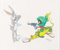 Animation Art:Production Drawing, Virgil Ross - Bugs Bunny and Marvin the Martian Illustration(Warner Brothers, c. 1990s)....