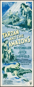 "Movie Posters:Adventure, Tarzan and the Amazons & Other Lot (RKO, R-1950). Insert (14"" X36"") & Title Lobby Card & Lobby Cards (11"" X 14"").Adventur... (Total: 3 Items)"