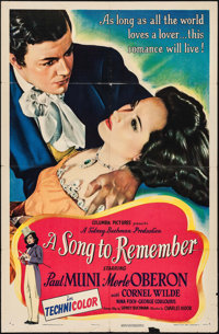 "A Song to Remember (Columbia, 1945). One Sheet (27"" X 41""). Drama"
