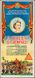 """Movie Posters:Documentary, A Queen is Crowned (Rank, 1953). Australian Daybill (13.5"""" X 30""""). Documentary.. ..."""