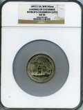 Expositions and Fairs, 1893 World's Columbian Exposition, Landing of Columbus AU50 NGC. Eglit-54. White Metal, 50mm....