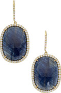 Estate Jewelry:Earrings, Sapphire, Diamond, Gold Earrings. ... (Total: 2 Items)
