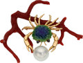 Estate Jewelry:Brooches - Pins, Sapphire, Coral, South Sea Cultured Pearl, Enamel, GoldPendant-Brooch. ...