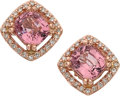 Estate Jewelry:Earrings, Pink Spinel, Diamond, Pink Gold Earrings. ... (Total: 2 Items)