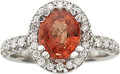 Estate Jewelry:Rings, Orange Sapphire, Diamond, White Gold Ring . ...