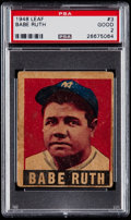 Baseball Cards:Singles (1940-1949), 1948 Leaf Babe Ruth #3 PSA Good 2....