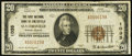 National Bank Notes:Rhode Island, Slatersville, RI - $20 1929 Ty. 1 The First NB of Smithfield Ch. # 1035. ...
