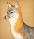 Prints, Beth Van Hoesen (1926-2010). Fox, 1982. Aquatint, etching, and drypoint in colors on wove paper. 13-3/4 x 12-1/4 inches ...