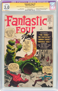 Fantastic Four #1 Signature Series (Marvel, 1961) CGC Apparent GD/VG 3.0 Slight (P) Off-white to white pages