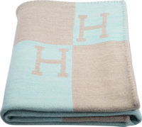 "Hermes Blue Atoll & Gris Clair Cashmere Avalon Blanket Excellent Condition 53"" Width x 67"" Length"