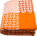 "Luxury Accessories:Home, Hermes Orange H & Ecru Wool and Cashmere Avalon Terre d'HBlanket. Pristine Condition. 53"" Width x 65"" Length...."